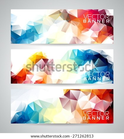 Vector geometric triangles banner background set. Abstract polygonal design. EPS 10 illustration. - stock vector