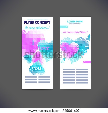 Vector geometrical composition of hearts on Valentine's Day,flyer template design, brochure, web sites, page, leaflet, text separately.  - stock vector