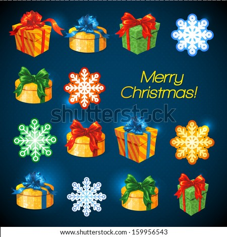 Vector gift box background with bows and ribbons. Snowflakes and stars Merry Christmas background. Merry Christmas and Happy New Year - stock vector