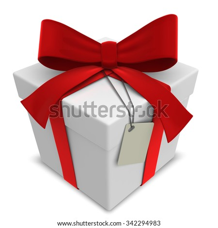 Vector Gift Box. Classic Gift Box with Red Ribbons. Blank Label for Copy Space. - stock vector