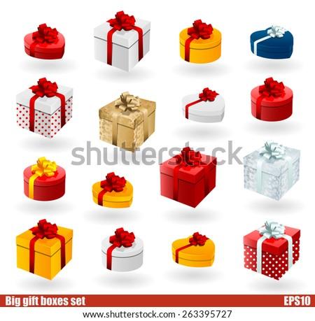 Vector gift box icon set - stock vector