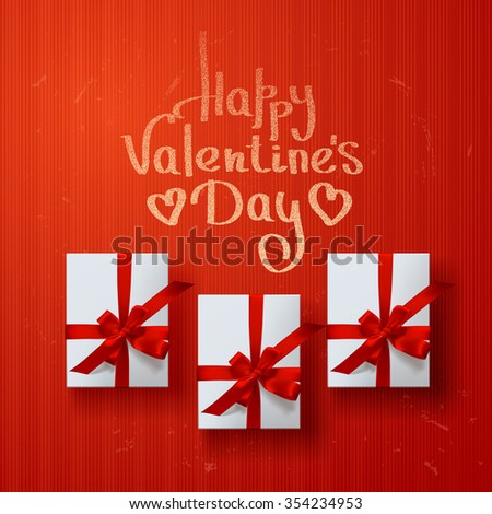 vector gift box on background. Color gift box with bows and ribbons. valentine`s card  - stock vector