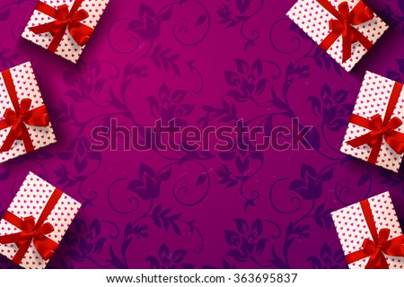 vector gift box on background. Color gift box with hearts, bows and ribbons. valentine`s card. Happy Valentine's Day.  - stock vector