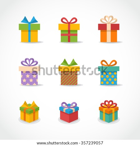 Vector Gift box,present colorful icons,sign,symbol,pictogam set with shadow isolated on a white background in flat style.Happy New Year. Merry Christmas  - stock vector