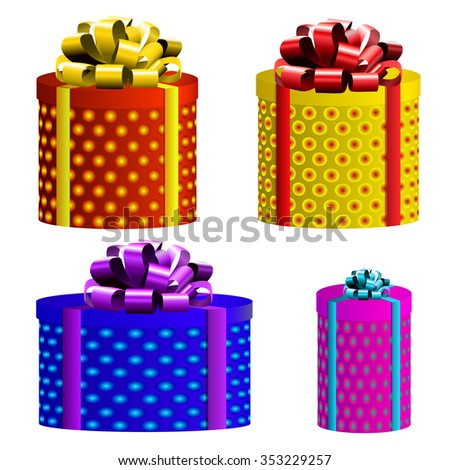Vector gift boxes. Different colors. Yellow, red, blue and magenta boxes - stock vector