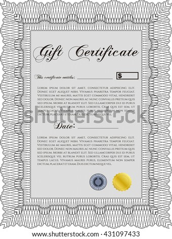 Vector Gift Certificate. Complex background. Excellent design. Customizable, Easy to edit and change colors.  - stock vector
