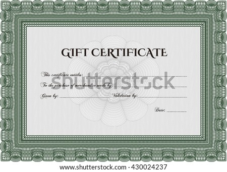 Vector Gift Certificate. Customizable, Easy to edit and change colors. With complex background. Good design.  - stock vector