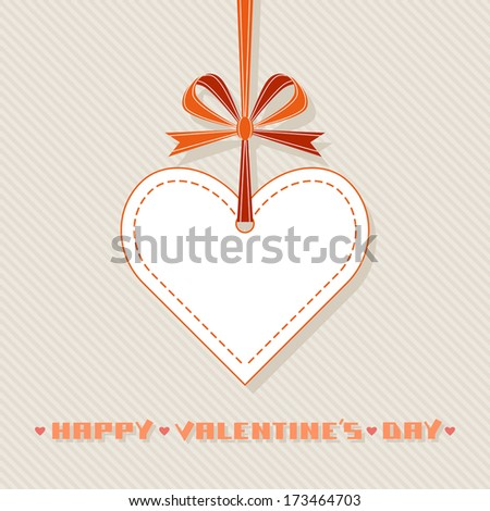 Vector gift of white heart, red ribbon, bow. Valentine's day and wedding illustration - stock vector
