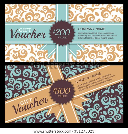 Vector gift voucher with vintage ornament background and ribbon. Decorative business card template. Floral design concept for boutique, beauty salon, spa, fashion, flyer, invitation. - stock vector