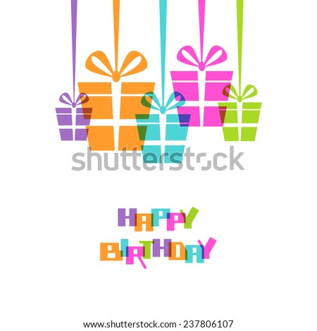 Vector gifts with ribbon and bow. Original design element. Greeting, invitation cute card - happy birthday! Decorative illustration for print, web - stock vector
