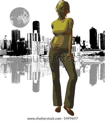 Vector Girl & City Night with moon - stock vector