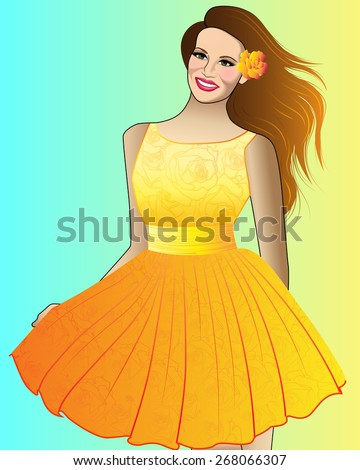 Vector Girl in a Yellow Dress - stock vector