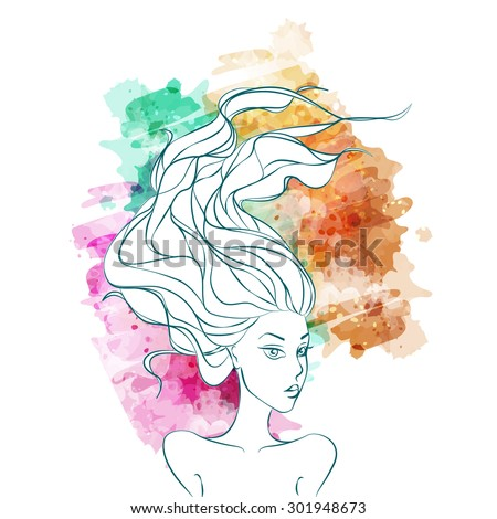 Vector girl. Watercolor style. Stylish Design for Beauty Salon Flyer or Banner. Girl Silhouette. Cosmetics. Beauty. Health and spa. Fashion themes. - stock vector