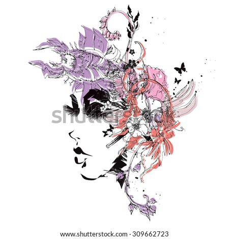 Vector girl with flowers - stock vector