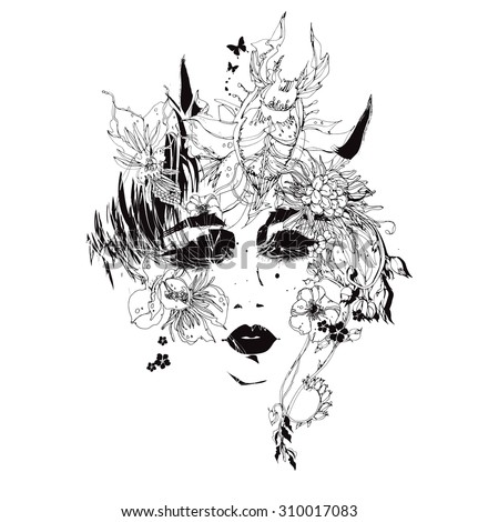 Vector girl with flowers and horns black and white - stock vector