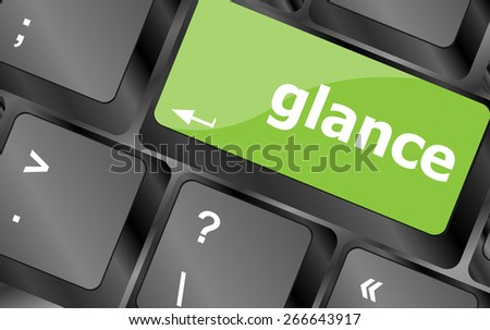 vector glance word on keyboard key, notebook computer button - stock vector