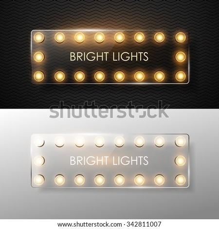 Vector glass banner with shining lights. - stock vector