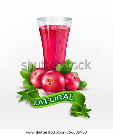 Vector glass cup with juice of cranberries isolated on white background - stock vector