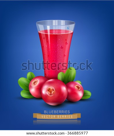 Vector glass cup with juice of cranberries on a blue background - stock vector