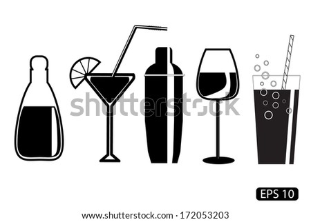 Vector glass drawings on white background - stock vector