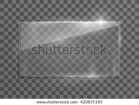 Vector glass frame. Isolated on transparent background. Vector illustration, eps 10. - stock vector
