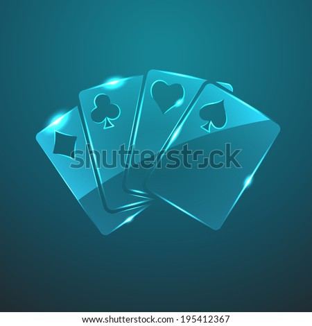 Vector glass game cards icon. Eps10 - stock vector