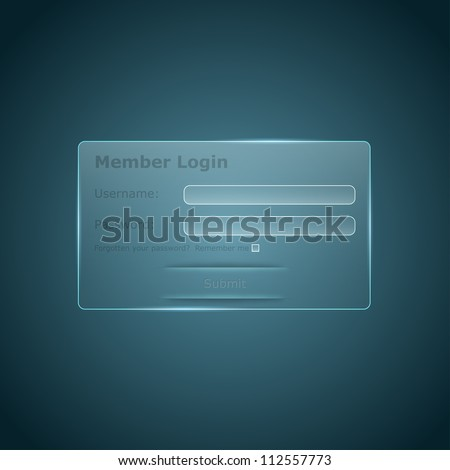 Vector glass login form for the web - stock vector
