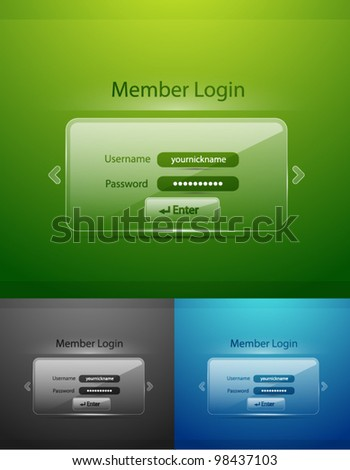 Vector glass login page - stock vector