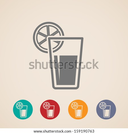 vector glass of juice icons - stock vector