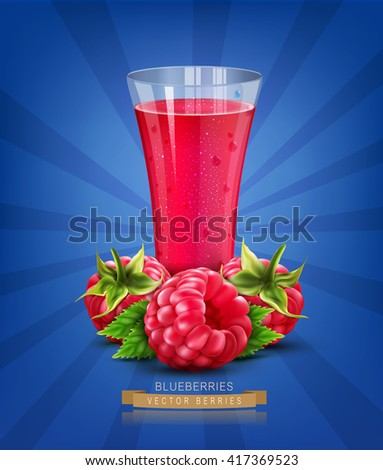 vector glass of juice with raspberry isolated on blue background - stock vector