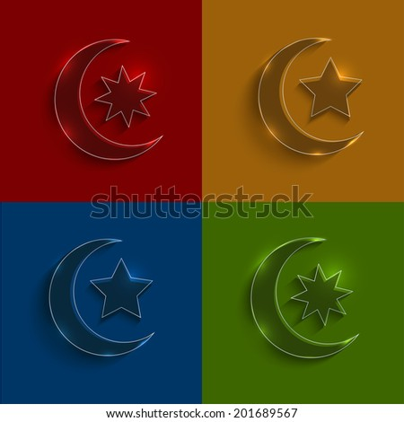 Vector glass ramadan icons set. circle and square variants - stock vector