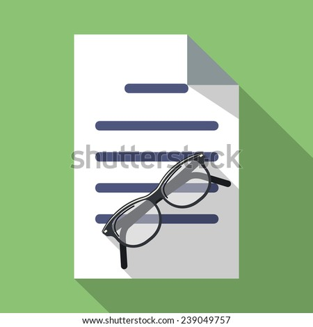 Vector Glasses and Paper Document - stock vector