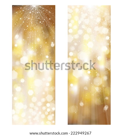 Vector glitter golden banners.  - stock vector