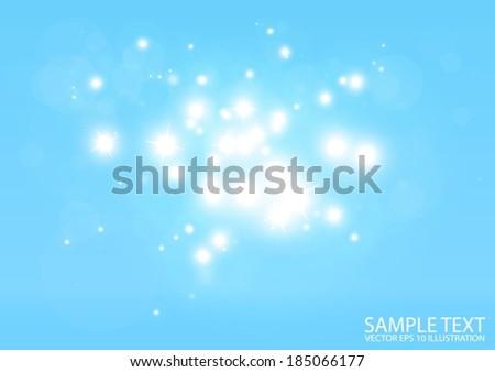 Vector glitter lights reflective blue background - Vector lights blue background illustration - stock vector