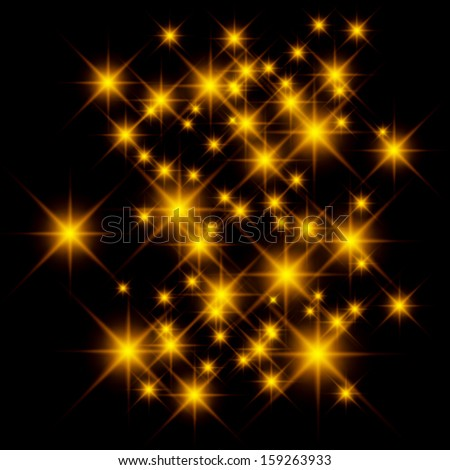 Vector glittering stars on golden glittering background. - stock vector