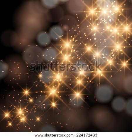 Vector glittering stars on golden glittering Christmas background. - stock vector