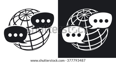 Vector global social network icon. Two-tone version on black and white background - stock vector
