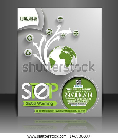 Vector Global Warming flyer, magazine cover & poster template - stock vector
