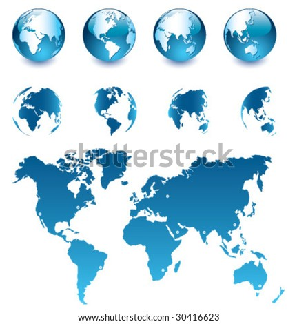 Vector Globe and Map of the World [set 1] - stock vector