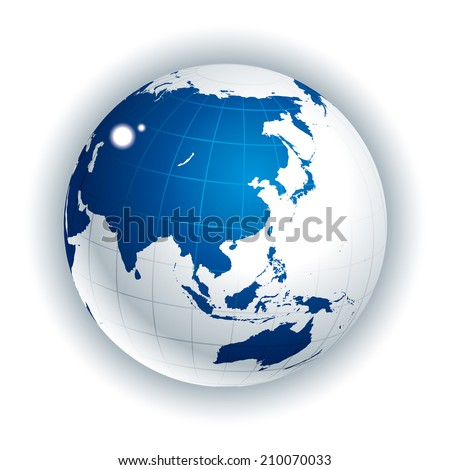 Vector Globe. Asia side - stock vector