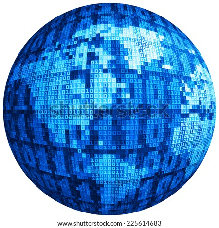 Vector globe consist of binary code. Eps8. RGB. Global colors. Gradients used. - stock vector