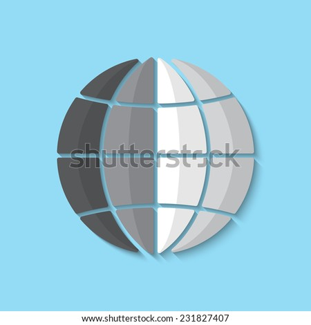 Vector globe flat icon. Eps 10 vector illustration. - stock vector