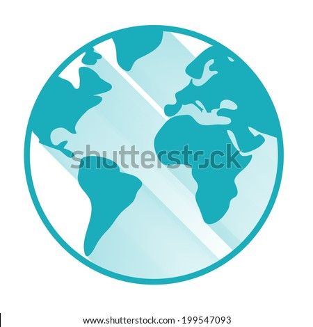 Vector globe icon with long shadow - stock vector