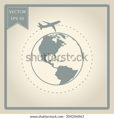 Vector globe icons with airplane  - stock vector
