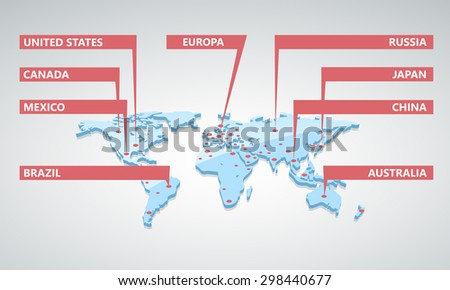 Vector globe map of the world. - stock vector