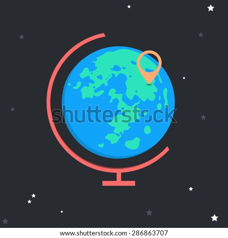 Vector globe on the background of the starry sky. The pin on the map - stock vector