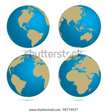Vector globe set - stock vector