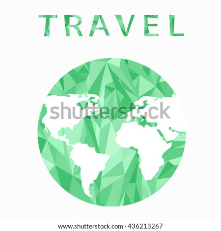 Vector globe sphere, map design. Travel. Abstract background . World map background in polygonal style. A stylized map of the world of green triangles.Info graphic,icon  - stock vector