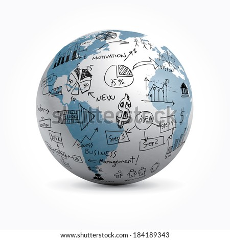 Vector globe with hand drawn business elements. - stock vector