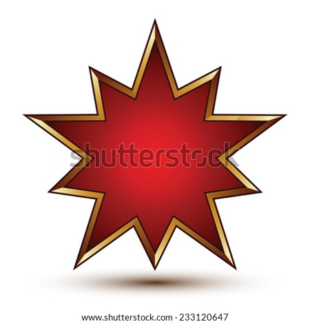 Vector glorious glossy design element, luxury 3d golden signet, conceptual graphic template, clear EPS 8. Red decorative star shaped element. - stock vector